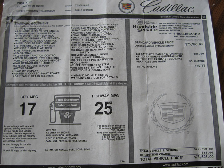 2004 Cadillac XLR #2299 Window Sticker