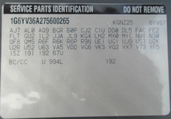 2007 Cadillac XLR #265 Build Sticker