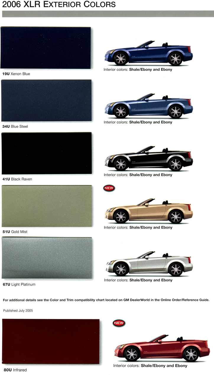 2007 Cadillac Xlr Colors Wiring 2006 Exterior And Interior Color Combinations Rh Net Com 2004 2008