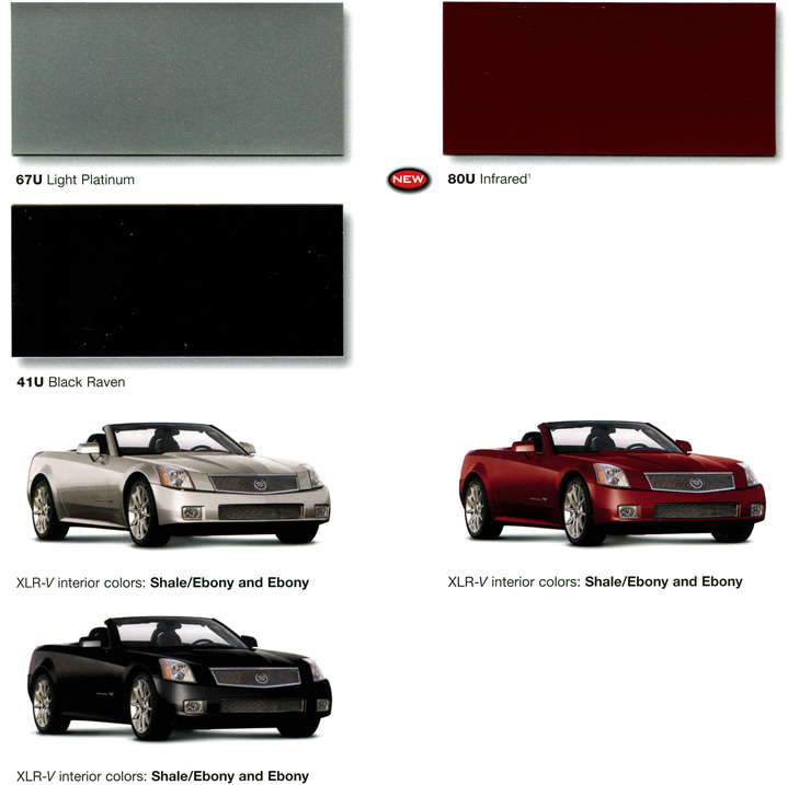 2006 Cadillac Xlr V Exterior And Interior Color Combinations