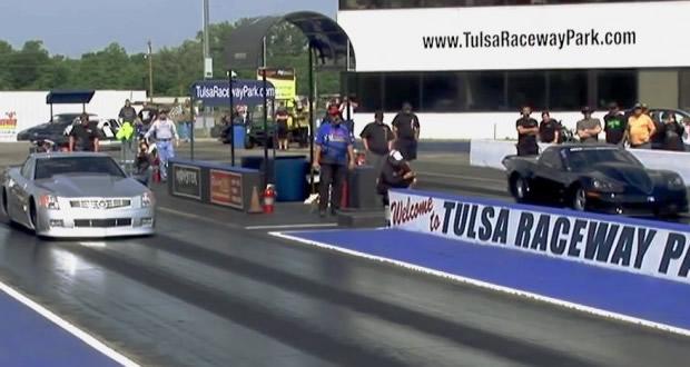 3000 HP Cadillac XLR vs Corvette C6 Drag Race
