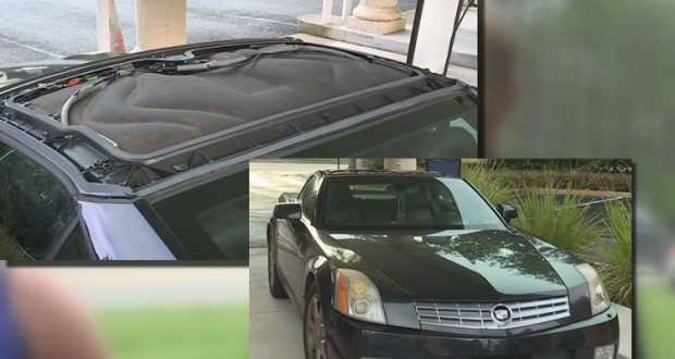 Roof delamination on a 2005 Cadillac XLR.